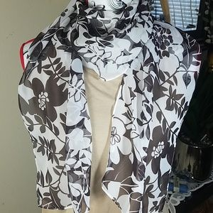 Fashion scarf, Brown and white floral long scarf